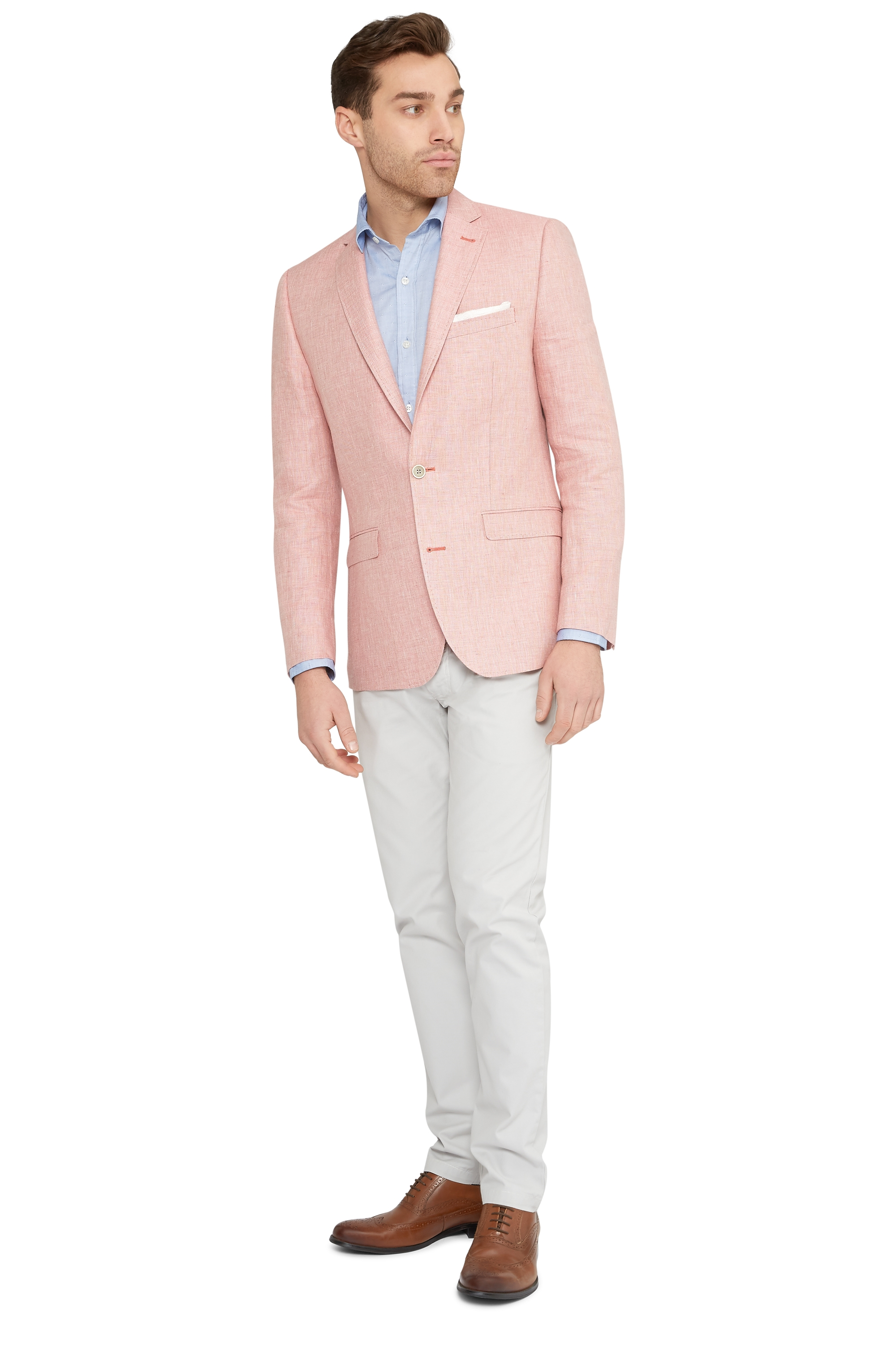 Moss 1851 Mens Tailored Fit Pink Linen Blazer Jacket Only | eBay